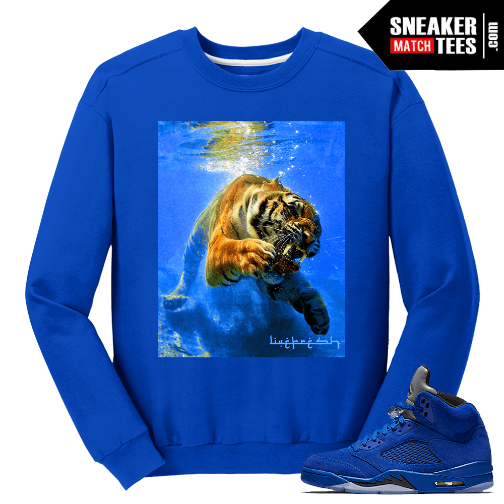 Jordan 5 Blue Suede Crewneck Sweater