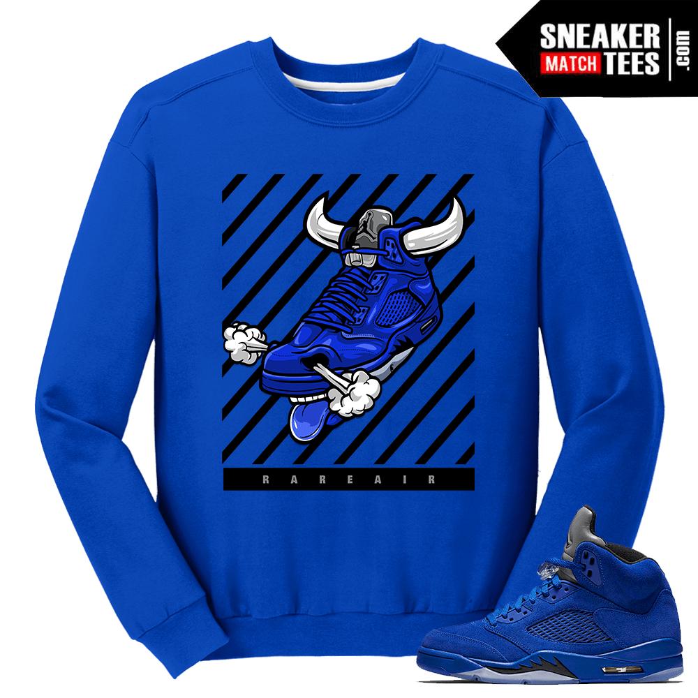 """957622c3b15 Jordan 5 Blue Suede Outfit Matching Crewneck """"Rare Air Bull"""" – Royal Blue  Crewneck"""