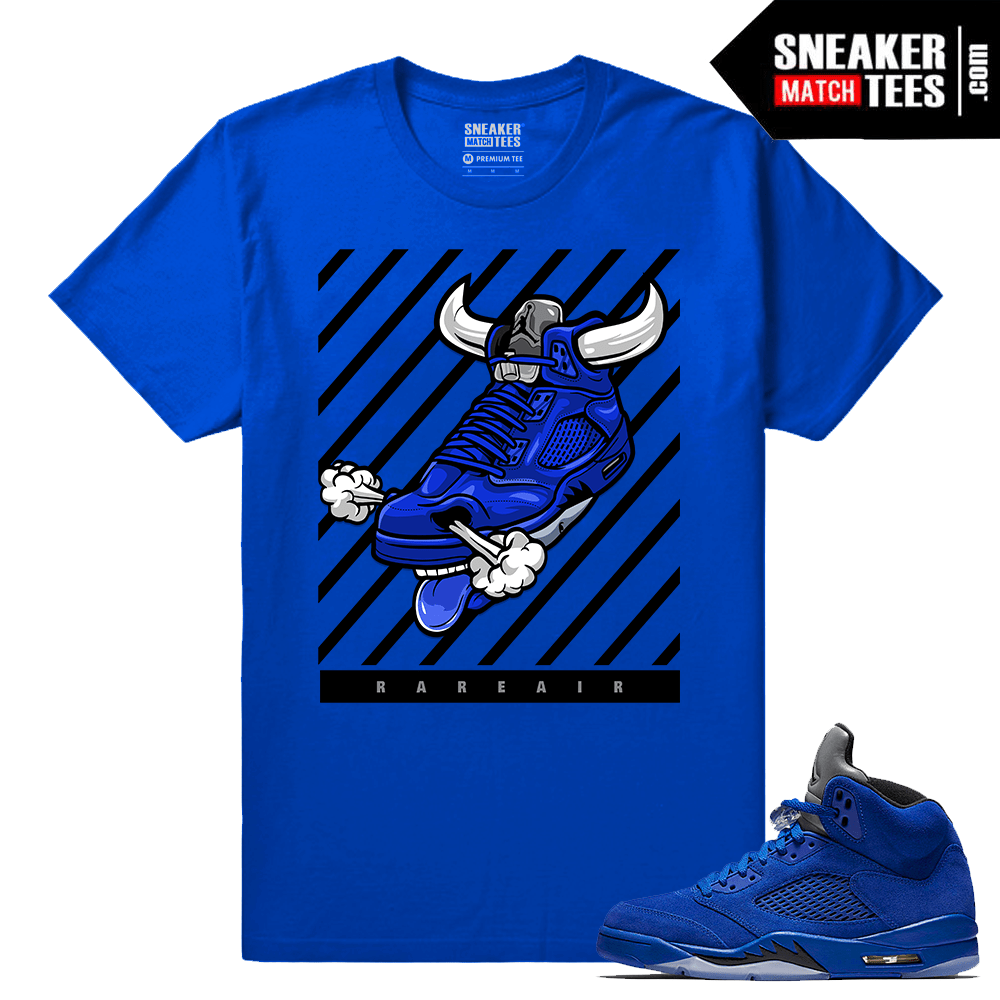 on sale cbc7b f872e Jordan 5 Blue Suede Shirt