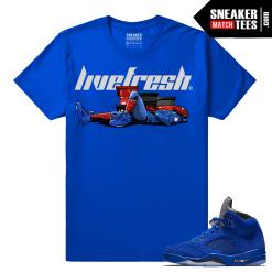 Jordan 5 Blue Suede Sneaker shirt