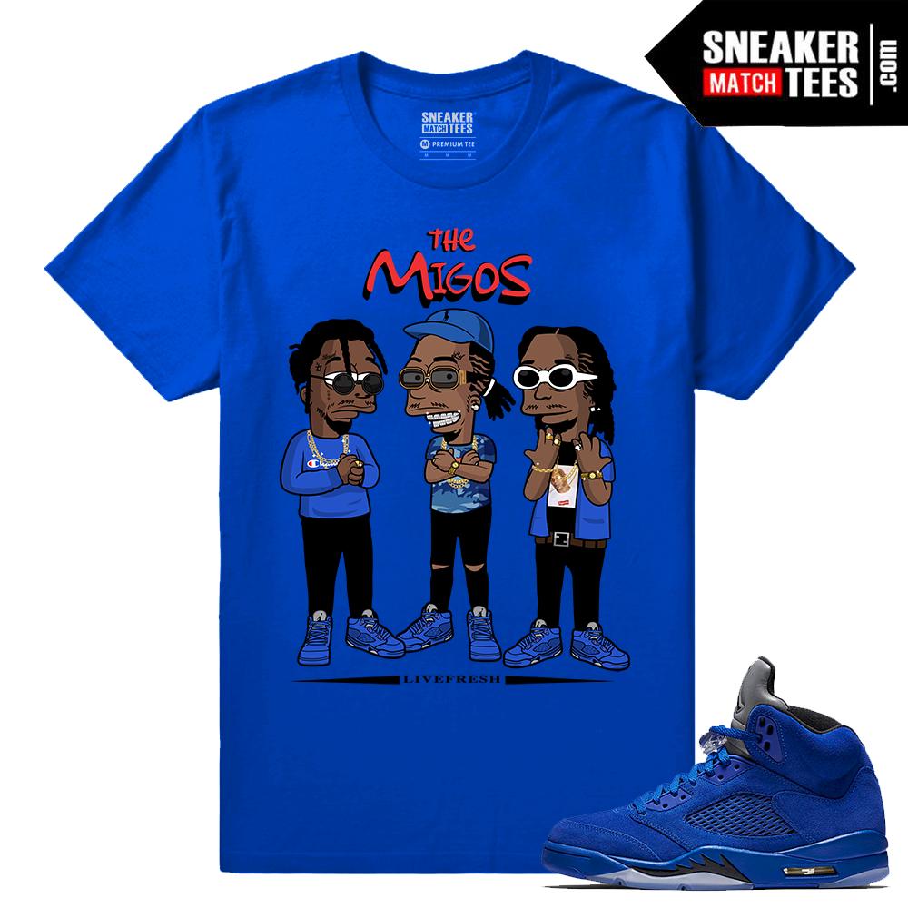 Jordan 5 Blue Suede T Shirt Sneaker Match Tees