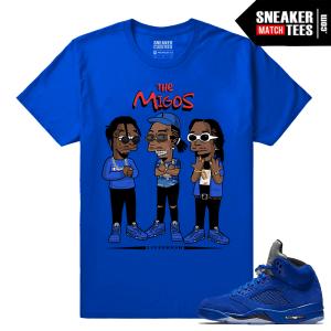 Jordan 5 Blue Suede T shirt