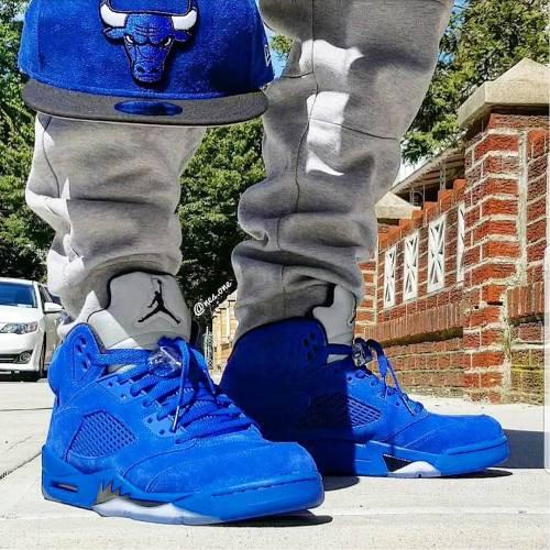 Jordan 5 Blue Suede on Feet look