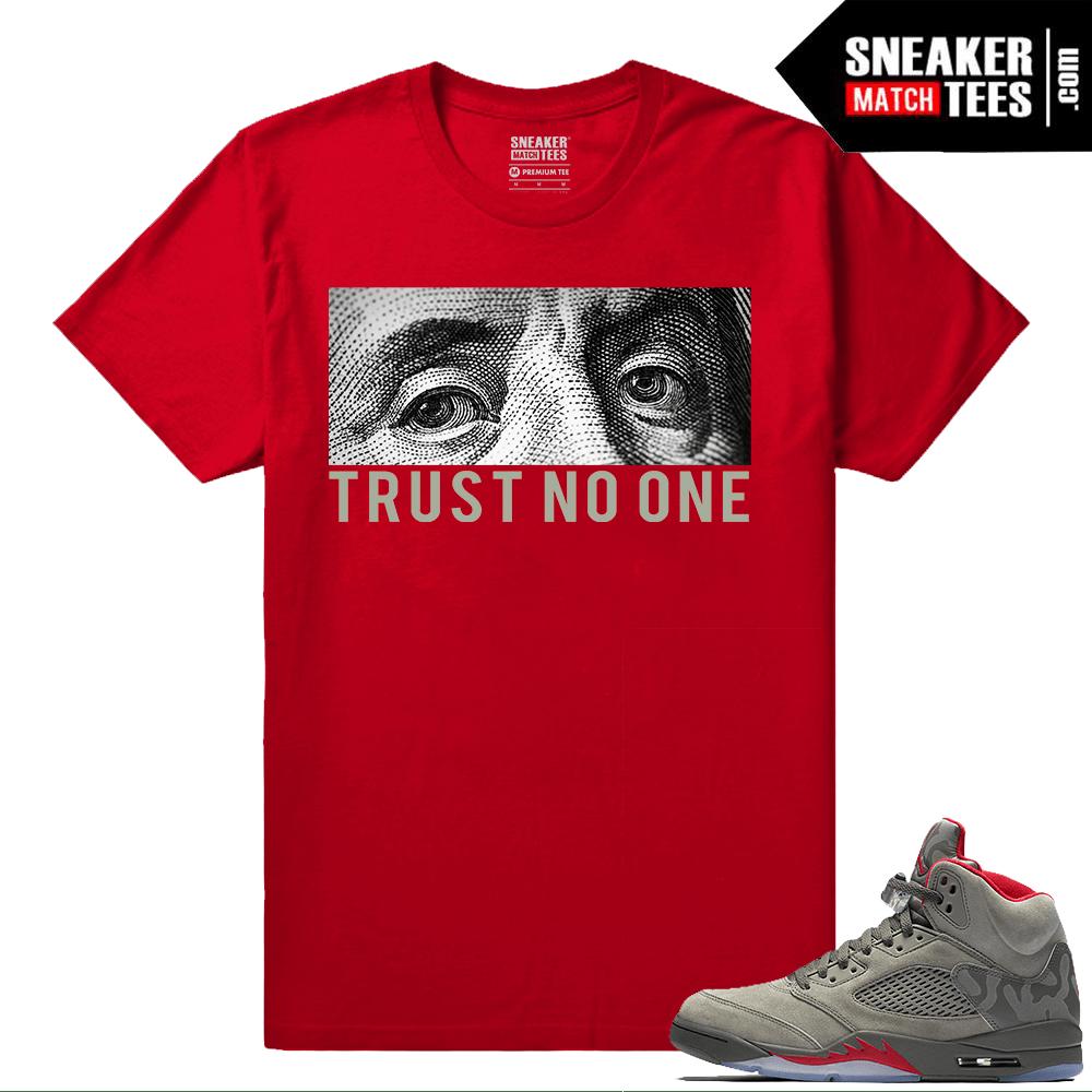 fcd0e44178eb22 Jordan 5 Sneaker tee shirt Trust No One - Camo 5s Collection
