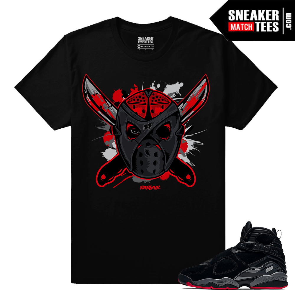 "64342d1f69bbb3 Jordan 8 Cement Bred Sneaker Tee Shirt ""Jason Retro 8 Mask"" – Black"