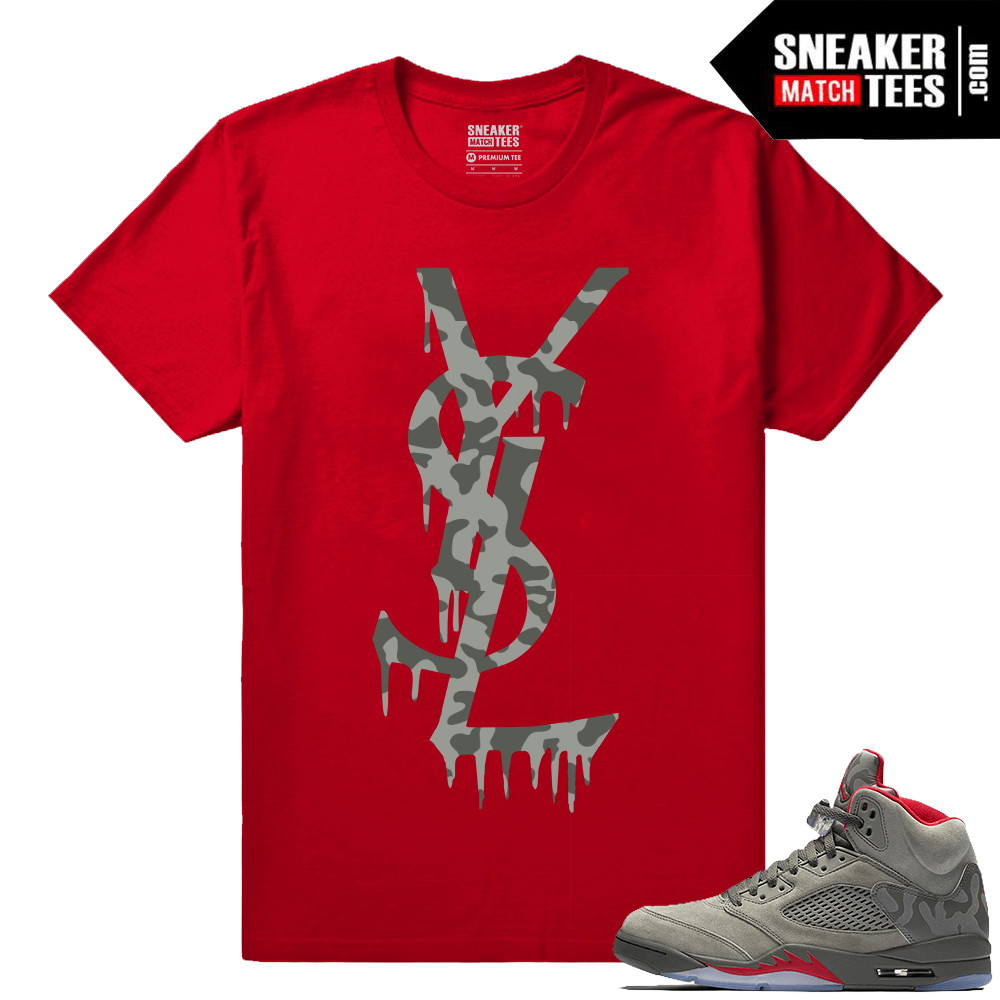Jordan Camo To Ysl Retro 5 Red Shirts Match Drip XTkOZiuP