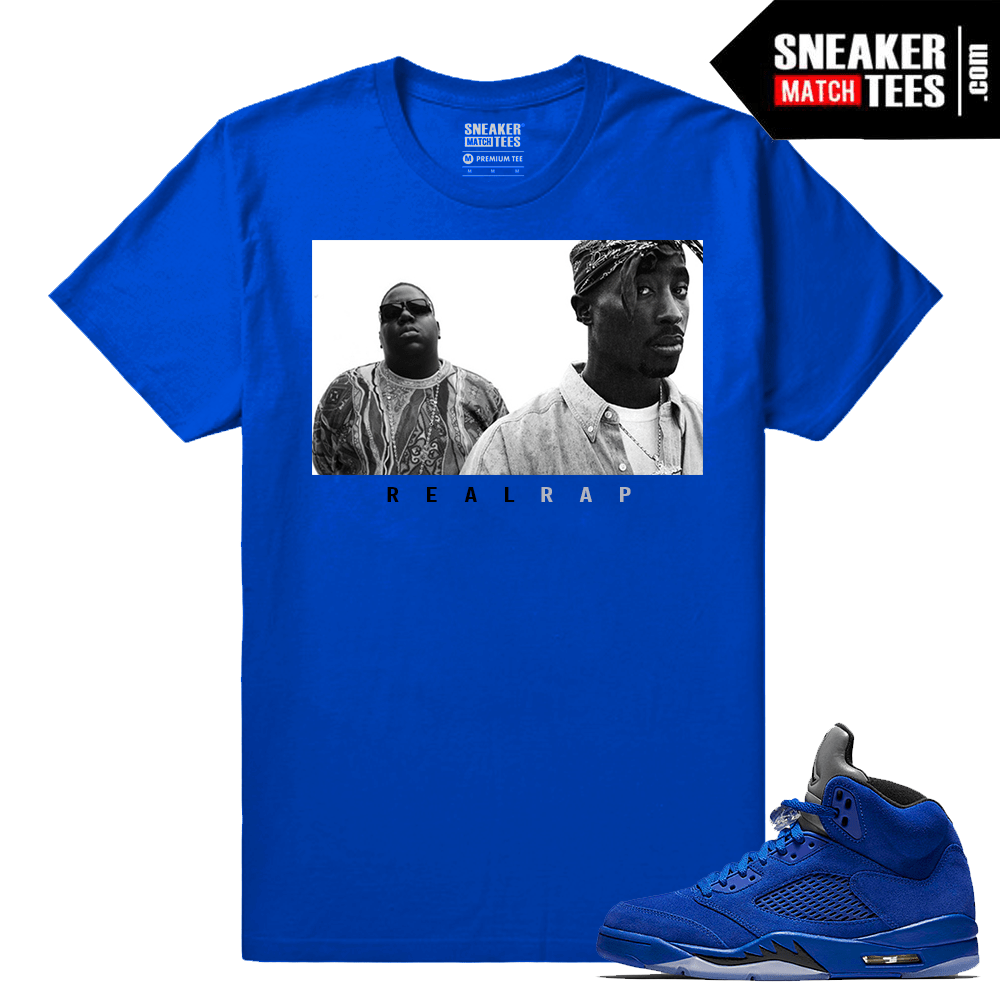 Jordan Retro 5 Sneaker tee clothing Blue Suede