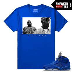Jordan Retro 5 Sneaker tee clothing Blue Suede
