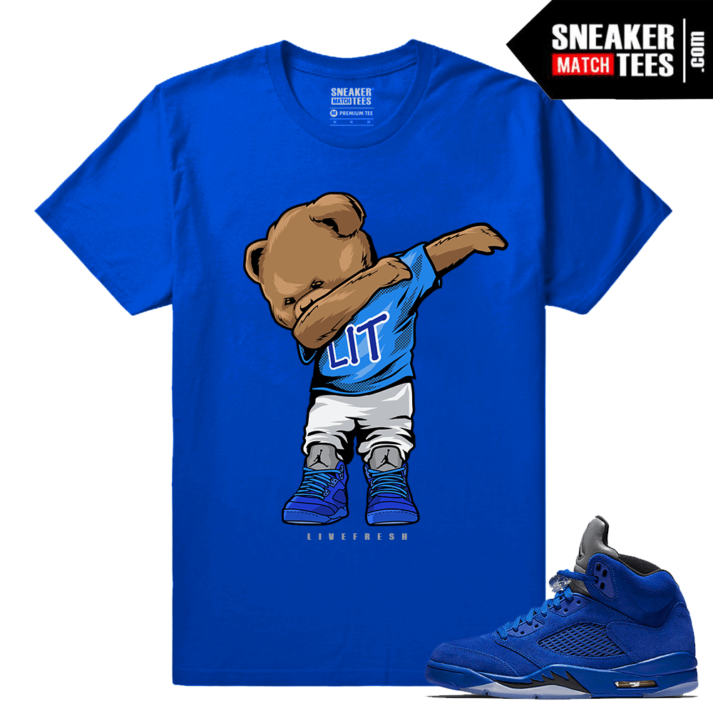 Jordan Retro 5 t shirt Blue Suede