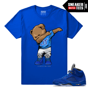 Jordan Retro 5 t shirt Blue Suede