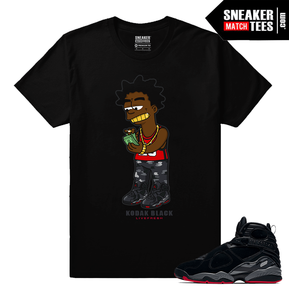 meet 186ba 1686e Kodak Black T shirt Jordan 8 Bred - Black