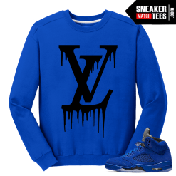 LV Drip Blue Suede 5s Crewneck