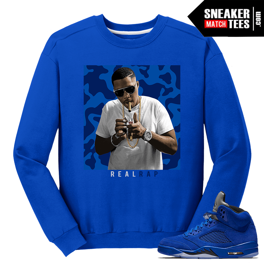 Nas Real Rap Blue Suede 5 Crewneck