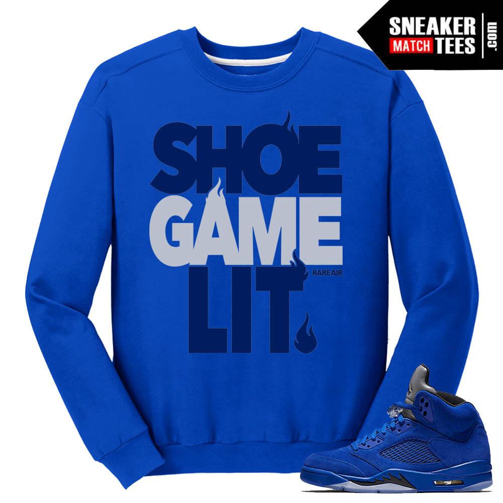 Shoe Game Lit Blue Suede 5 Crewneck
