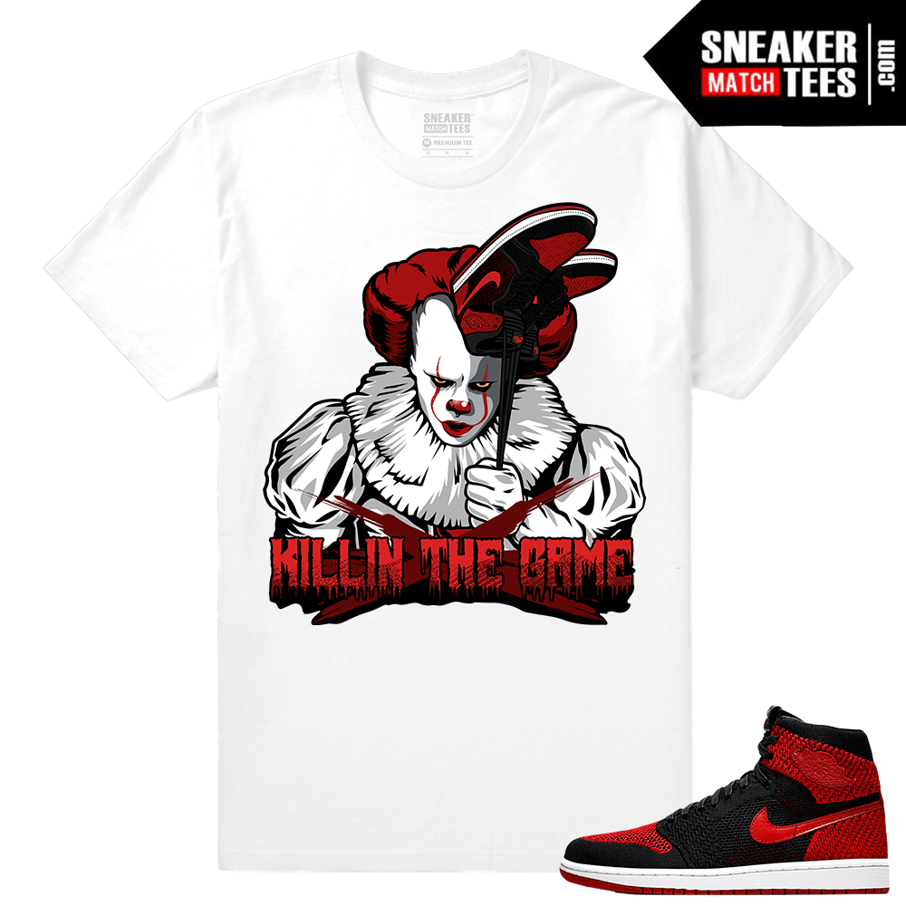 "7023eba7d7c0bd Jordan 1 FlyKnit Banned – ""IT Banned Ones"" Matching Sneaker tees – White T  shirt"
