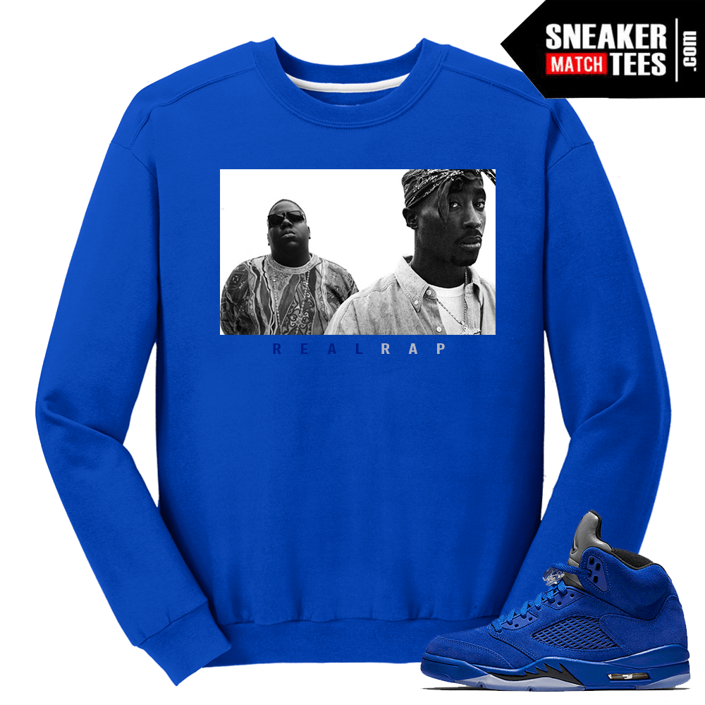 9cc806f11b10 Tupac Biggie Real Rap Blue Suede 5s - Sneaker Match Tees ®