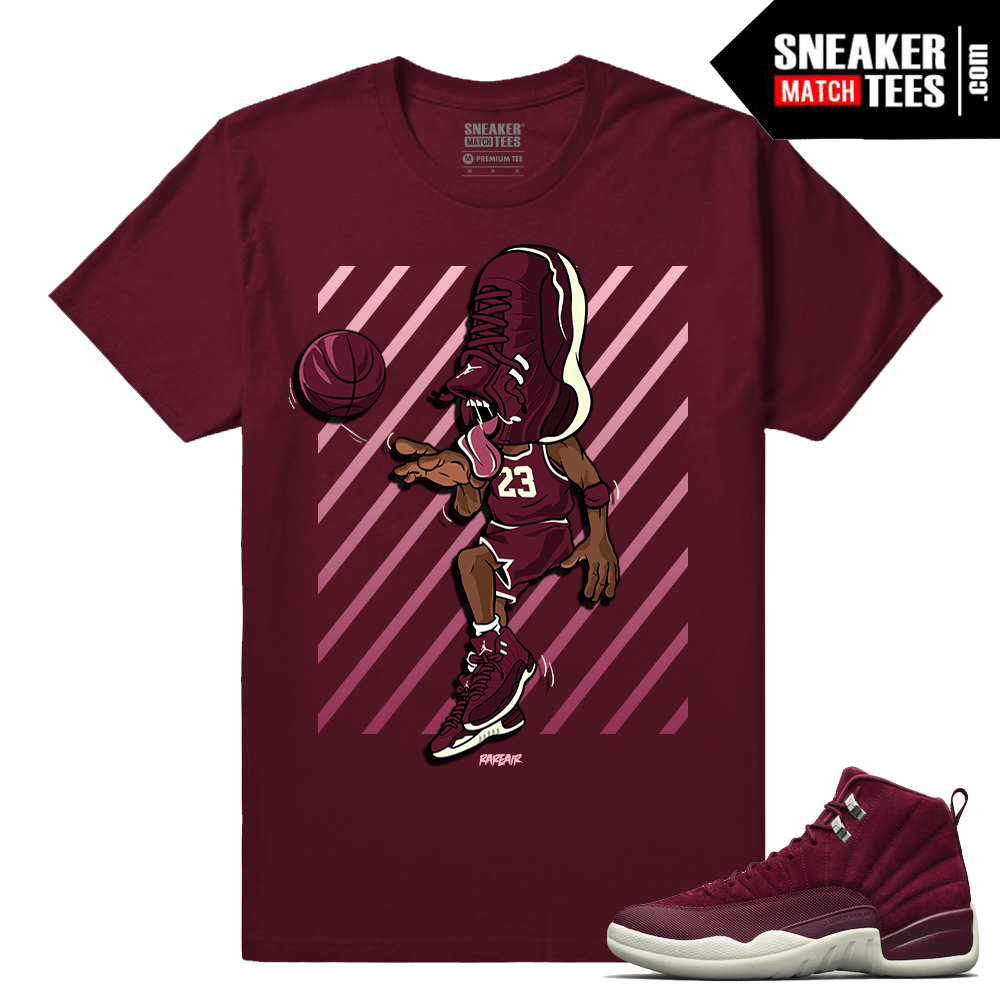 "f8096303d65c73 Air Jordan 12 Retro Bordeaux shirts ""Sneakerhead 12 Bordeaux"" T shirt Maroon"
