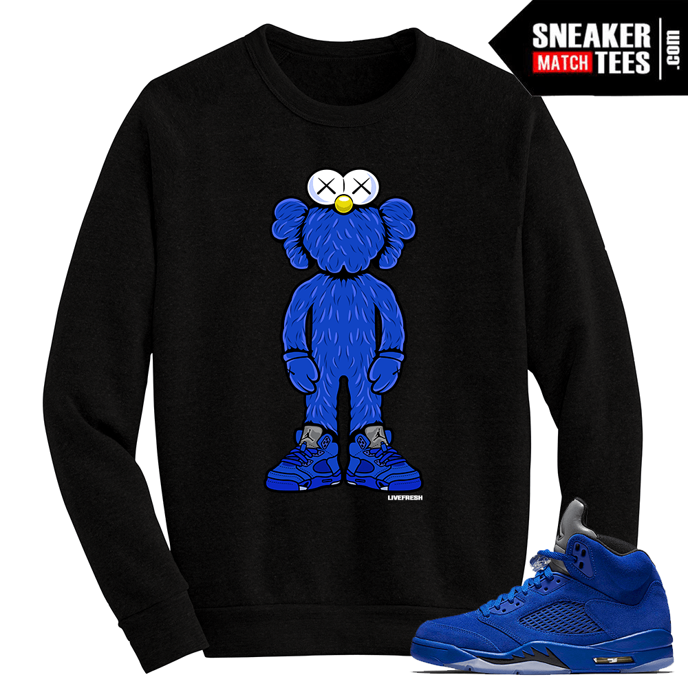 Blue Suede 5 Live Fresh Kaws Black Crewneck Sweater