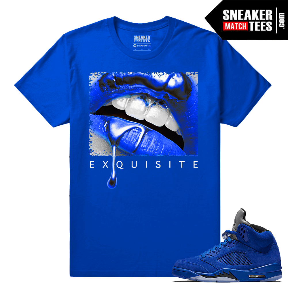 1c25706578c86 Blue Suede 5 Jordan Exquisite Lips Royal T shirt - Sneaker Match Tees ®