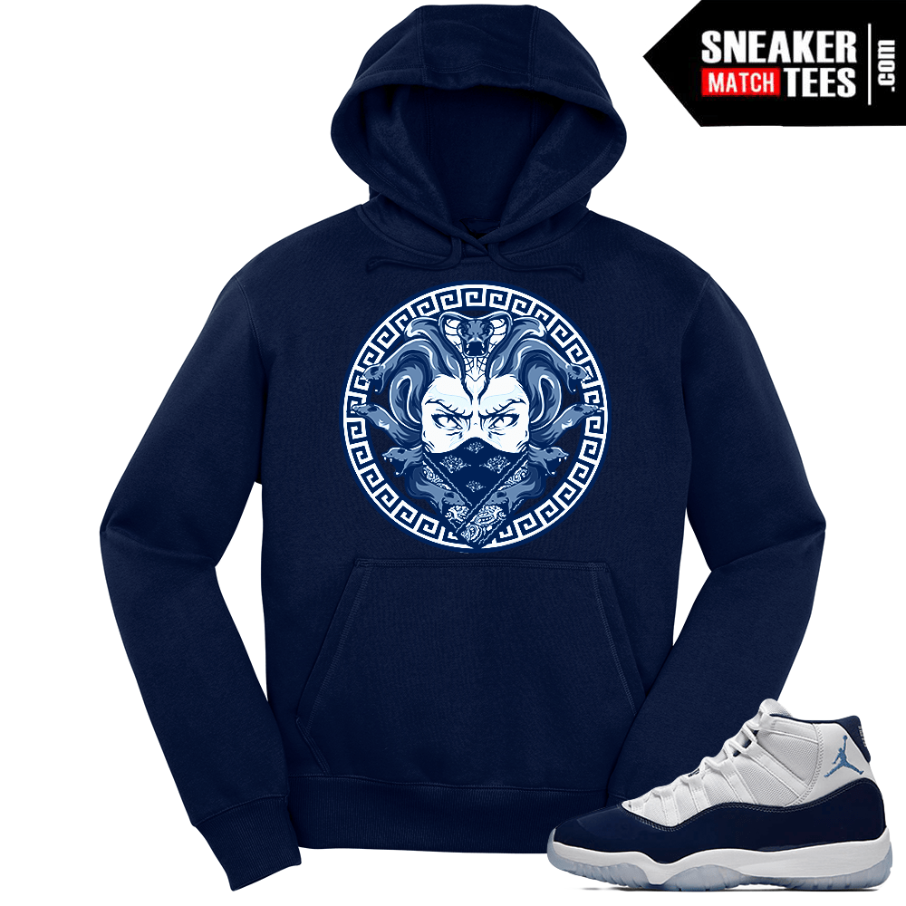 6decb8dd147b Jordan 11 Midnight Navy Hoodie Dxpe Medusa - Sneaker Match Tees