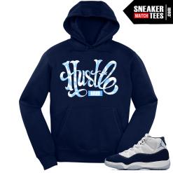 Jordan 11 Midnight Navy Hoodie Hustle Camo Script