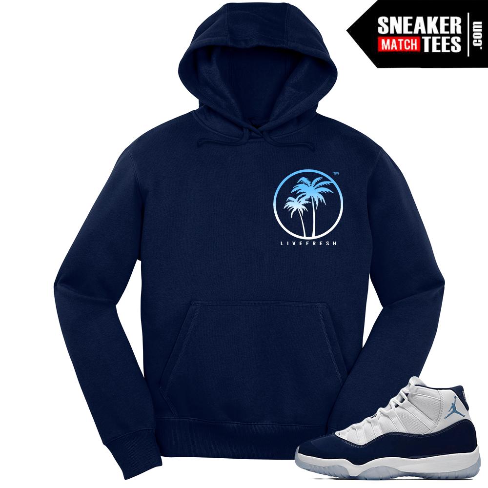 294521248597ad Jordan 11 Midnight Navy Hoodie Live Fresh Palm - Sneaker Match Tees ®