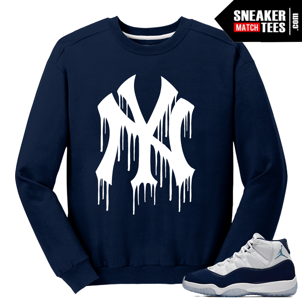 1888868b7de Jordan 11 Win Like 82 Navy Sweater NY Drip - Sneaker Match Tees