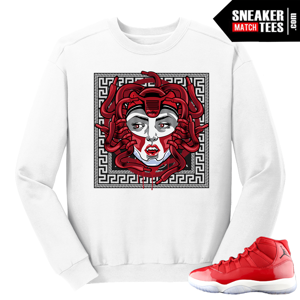 afc6fdc1f3f896 Jordan-11-Win-like-96-Gym-Red-Medusa-XI-White-Crewneck-Sweater.png