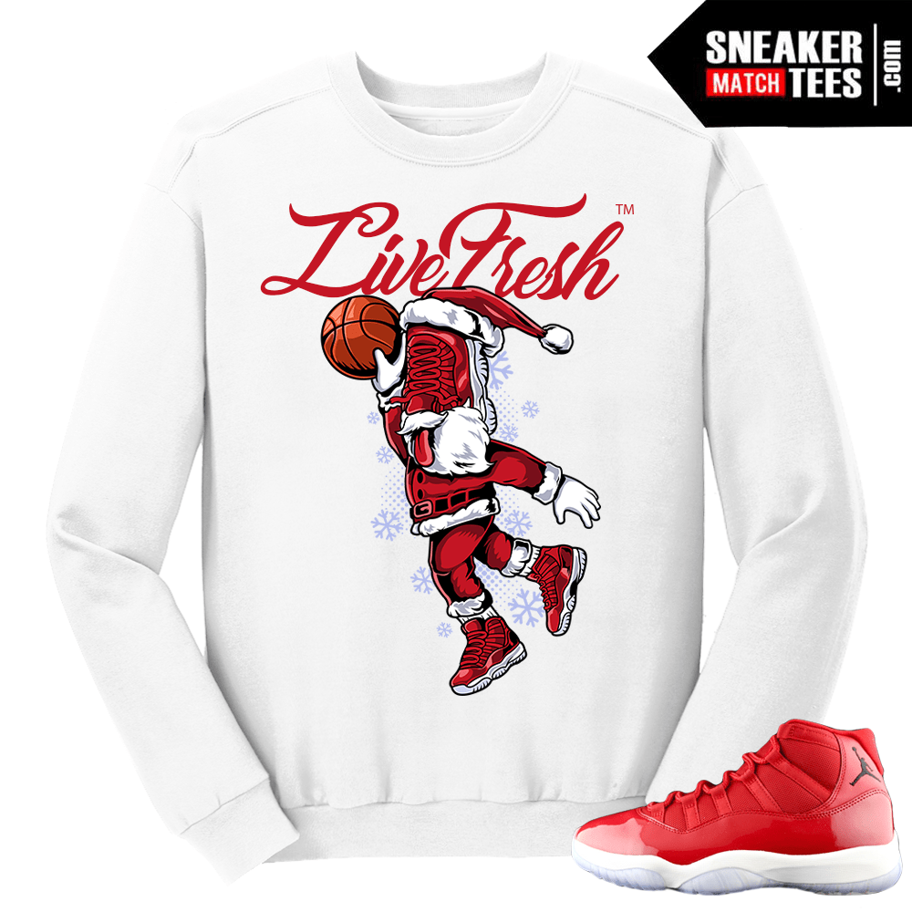 Jordan 11 Win like 96 Gym Red Sneakerhead Santa White Crewneck Sweater