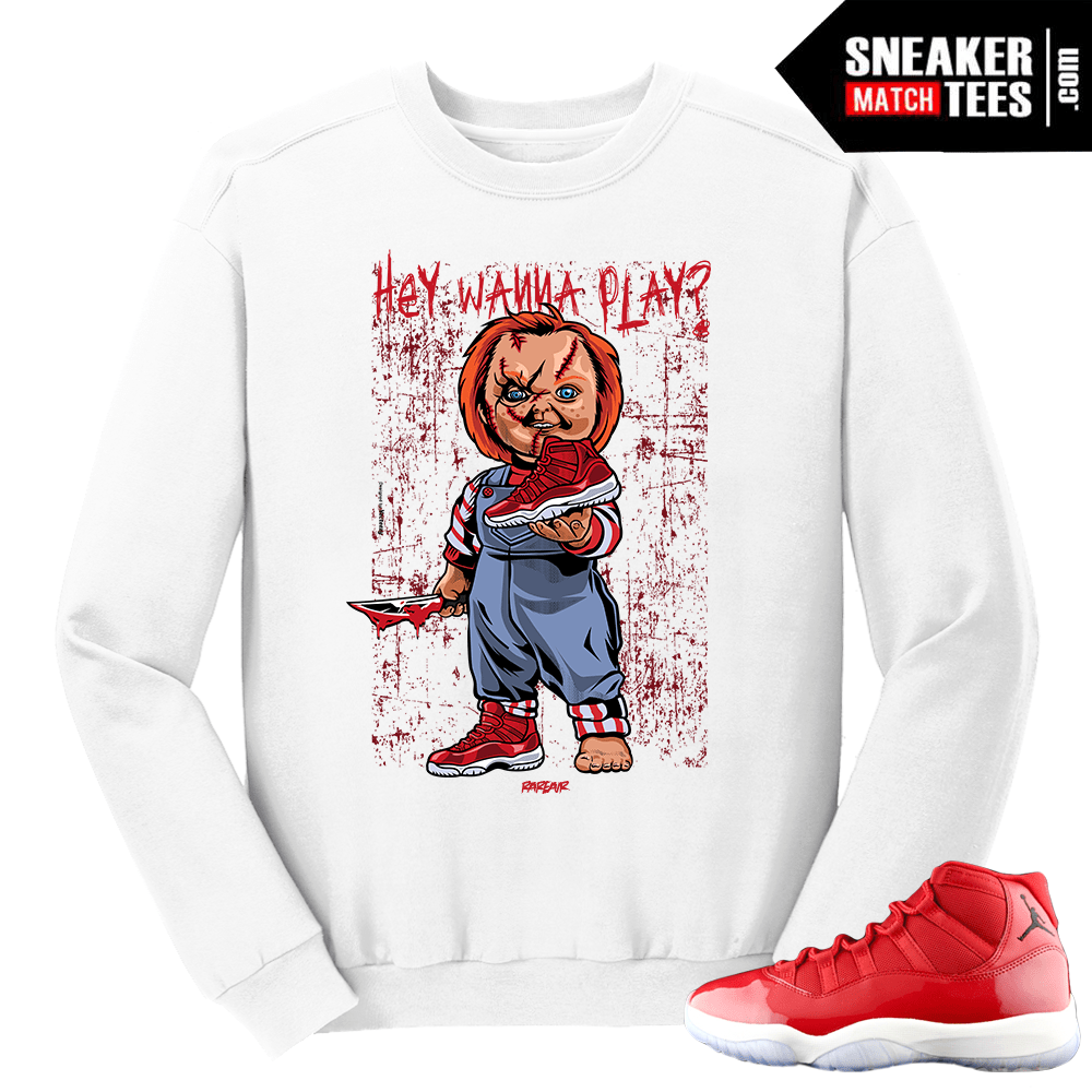 89a7d617ca616d Jordan-11-Win-like-96-Gym-Red-Wanna-Play-White-Crewneck-Sweater.png