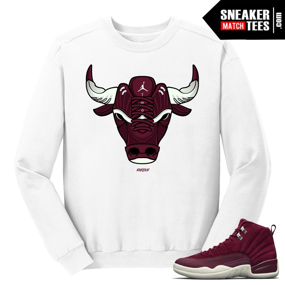 pretty nice 6cd4a 4a4e6 Jordan 12 Bordeaux Bull White Crewneck Sweater