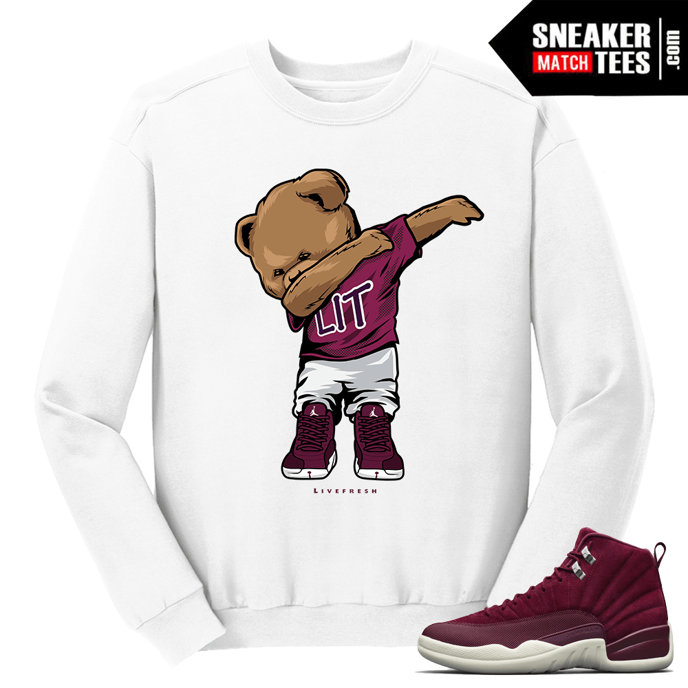1019c011a64 Jordan 12 Bordeaux Dabin Polo Bear White Crewneck Sweater