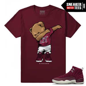 Jordan 12 Bordeaux Dabin Polo Bear t shirt