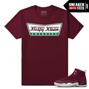 Jordan 12 Bordeaux Krispy Klean Sneakers Maroon T shirt