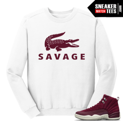 Jordan 12 Bordeaux Savage White Crewneck Sweater