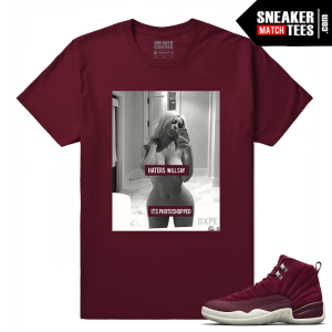 Jordan 12 Bordeaux Sneaker Tees Outfit