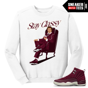 Jordan 12 Bordeaux Stay Classy Ron Burgundy White Crewneck Sweater
