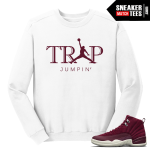 Jordan 12 Bordeaux Trap Jumpin White Crewneck Sweater