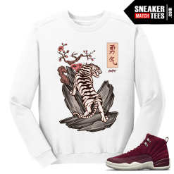 Jordan 12 Bordeaux White Tiger White Crewneck Sweater