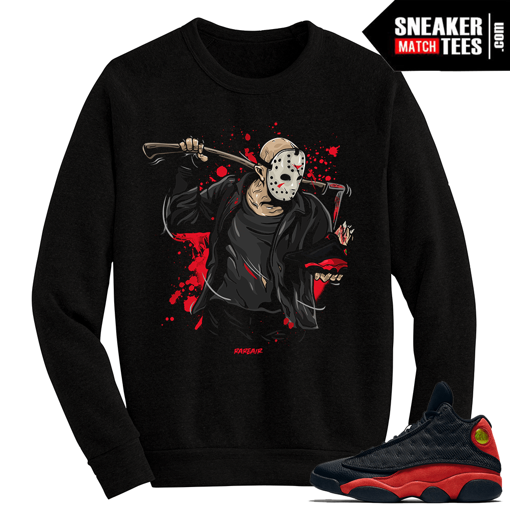 detailed look 68d4e d96ad Jordan 13 Bred Jason Friday the 13th Black Crewneck Sweater