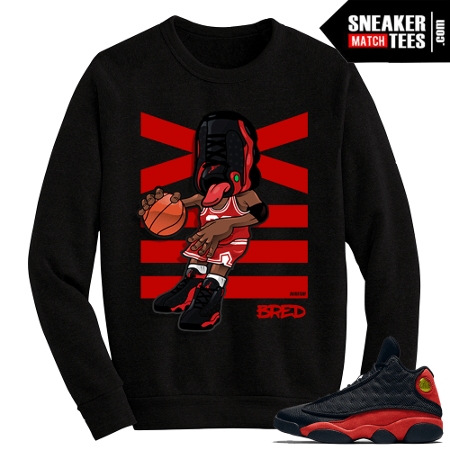 Jordan 13 Bred Sneakerhead Black Crewneck Sweater