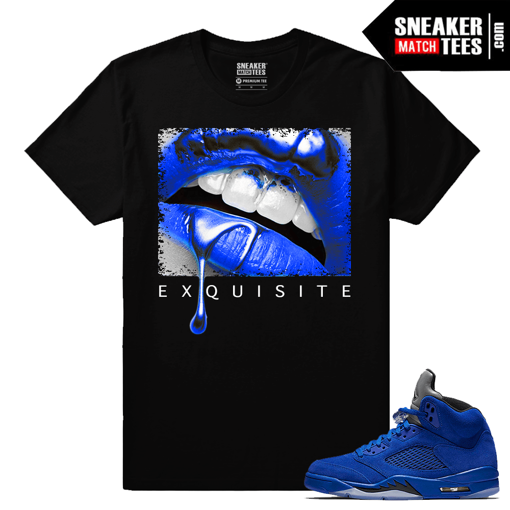 Jordan 5 Blue Suede Exquisite Lips Black T shirt