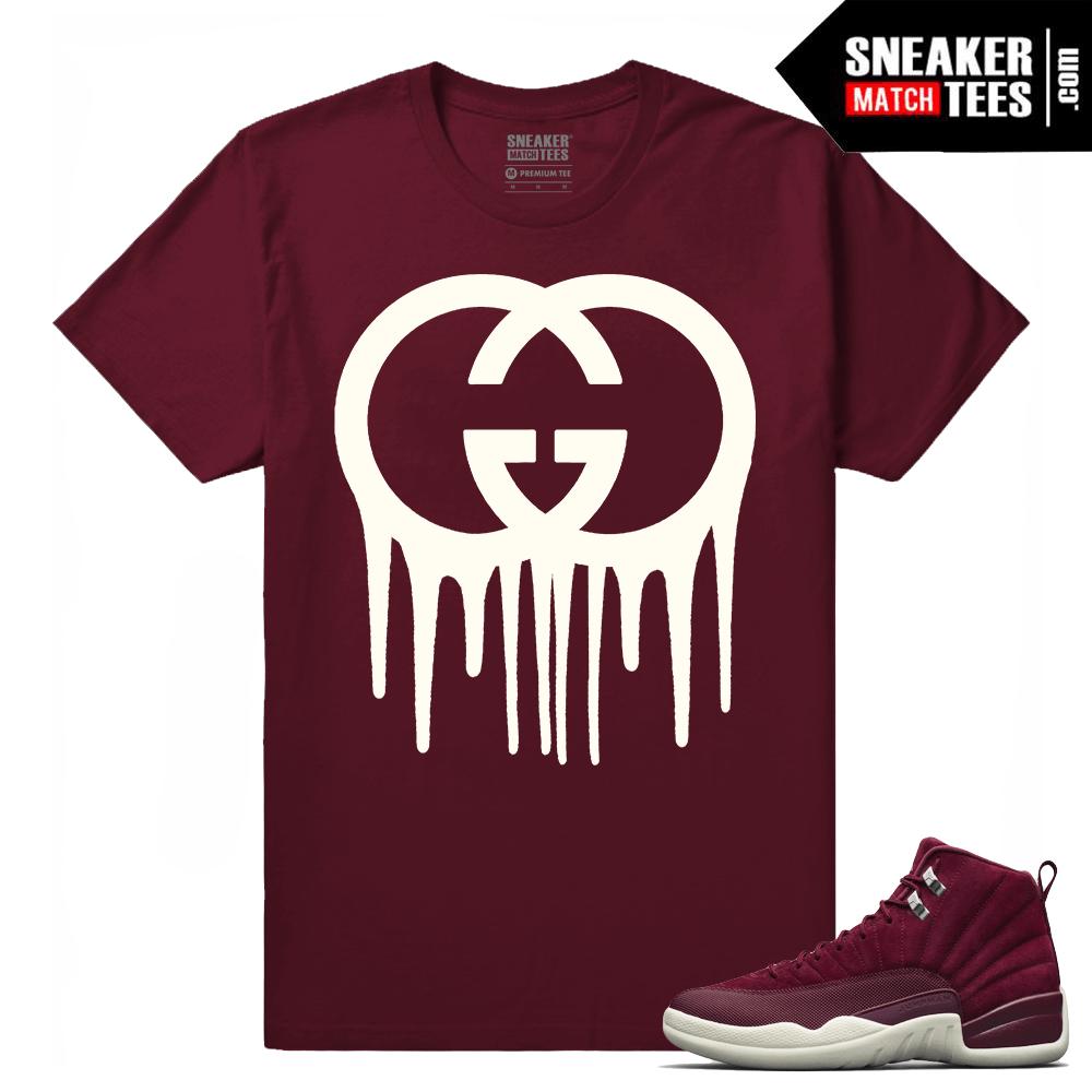 competitive price 57e93 42dc1 Air Jordan 12 Bordeaux Gucci Drip Maroon T shirt