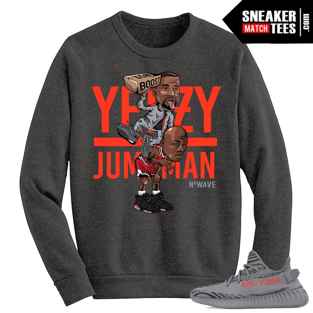 Beluga Yeezy Boost 350 V2 Crewneck Sweater Grey Yeezy Over Jumpman
