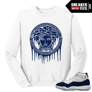 Jordan 11 MIdnight Navy White Sweater Medusa Drip