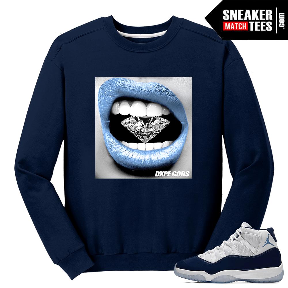 Jordan 11 Midnight Navy Crewneck Sweater Diamond Lips 6cef164f84e6