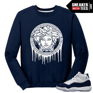 Jordan 11 Midnight Navy Crewneck Sweater Navy Medusa Drip