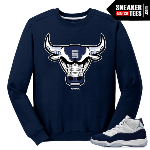 Jordan 11 Midnight Navy Crewneck Sweater Rare Air Bull