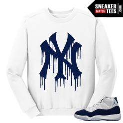 Jordan 11 Midnight Navy Crewneck Sweater White NY Drip