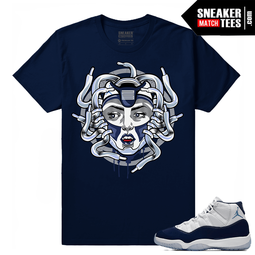 ae7c8799964e82 Jordan 11 Midnight Navy T shirt Medusa 11 - Sneaker Match Tees